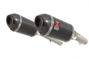 SL1000 Falco 99-05 Exhaust Silencers 200mm Oval Carbon + Carbon Tip